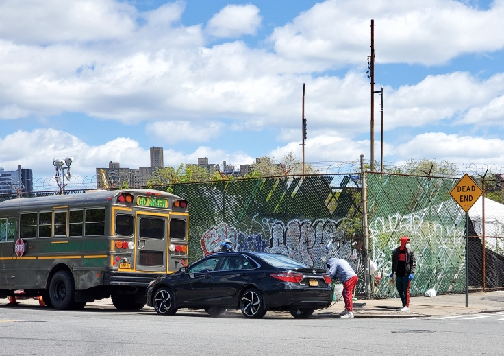 Washing cars on Ninth Avenue, May 2020