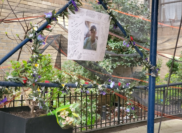 A memorial on Seaman Avenue, April 2020