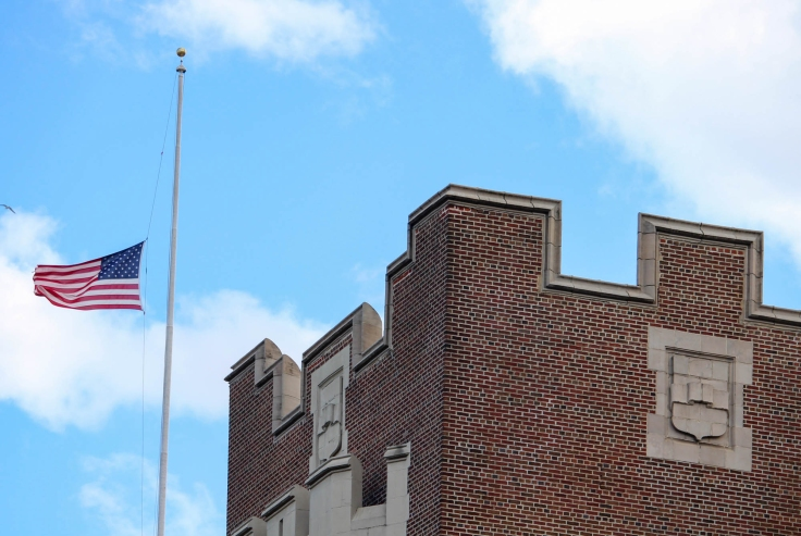 Flag at half mast at I.S. 52, May 2020
